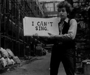 Bob Dylan ícone das canções de protesto.