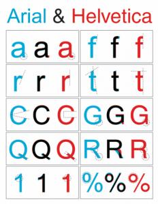 Diferenças básicas entre Arial e Helvetica
